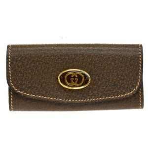 GUCCI Logo GG 3 Hook Key Case Leather Brown Gold